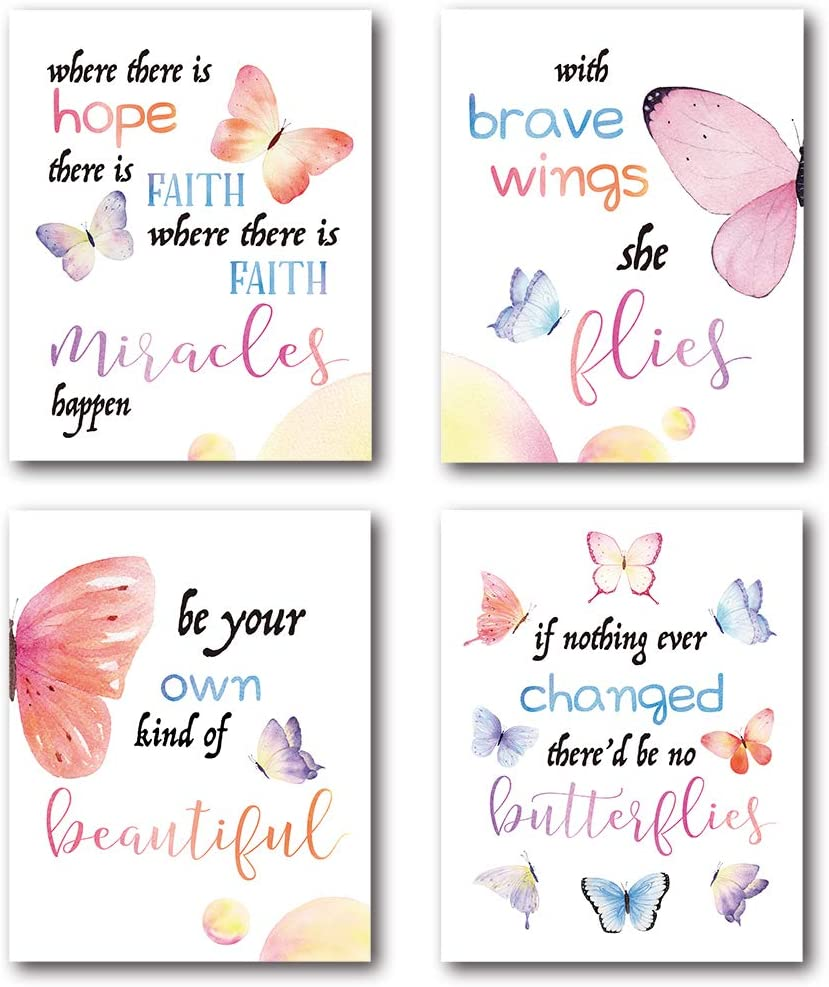 XUWELL Inspirational Quotes Watercolor Butterfly Wall Art Prints, Motivational Wall Art for Girls Women Bedroom Office Classroom Decor, 8 x 10 Inch Set of 4 Prints, Unframed