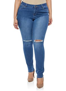 566b48ad56d Jack David GAZOZ  926 Womens Plus Size Distressed Knee Hole Ripped Stretch  Jeans Skinny