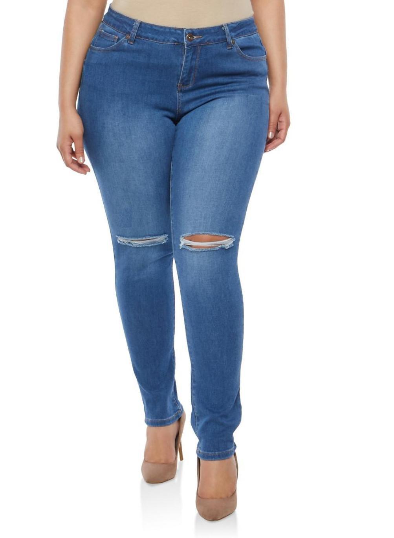 SLS Womens Plus Size Stretch Distressed Ripped Blue Skinny Denim Jeans Pants (22, Blue-bs19-R)