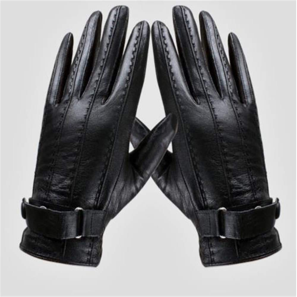 Woisha Leather Men S Autumn Winter Warm Sheepskin Riding Outdoor Cold Gloves Black