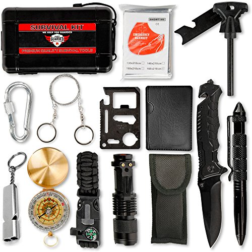 Emergency Survival Kit Outdoor Gear - 15 in 1 - Everyday Military Supply Pack with Self Defense Weapons - Tactical Knife, Fire Starter Set, Compass, Paracord Bracelet - Small & Lightweight (Everyday Kit Starter)