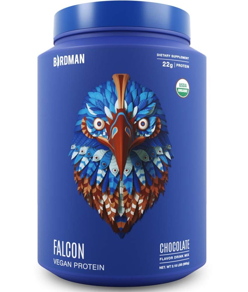 Birdman Falcon Protein, Organic Plant Based Powder 2.18 lb, 33 Servings, Chocolate Flavor, Vegan, Gluten Free, Kosher, Non-GMO, Drink Mix, with Pea and Rice by BIRDMAN
