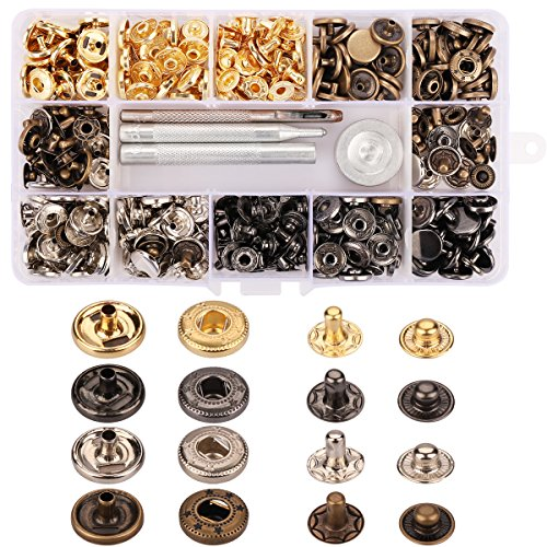 Buy 100 Sets Snap Fastener Kit Button Tool Press Studs with 4 Pieces Fixing Tools for leather clothi...