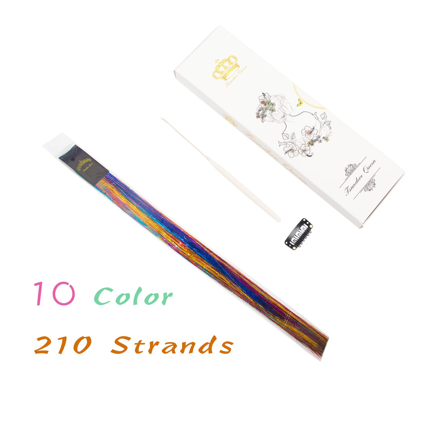40'' Hair Tinsel 210 Strands 10 Color (Sparking Gold, Green, Hot Pink, Rainbow, Champagne Gold, Crimson, Sky Blue, Sapphire Blue, Silver, Violet)