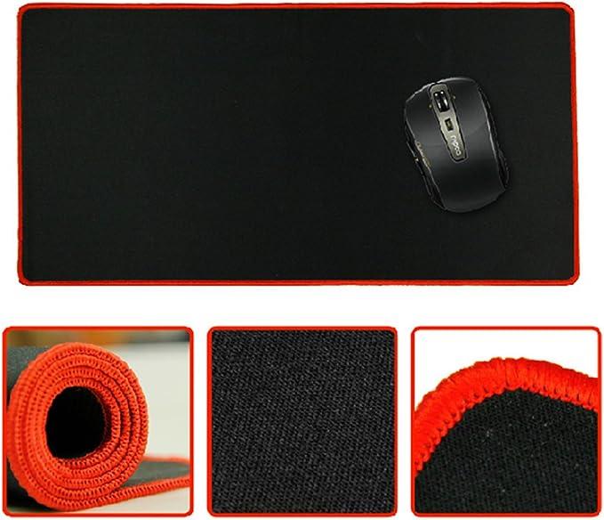 LEDMOMO Tappeto tastiera Tappetino Mouse portatile Confortevole Antiscivolo Tappetino per computer 300x700x2mm Nero con bordo Blu