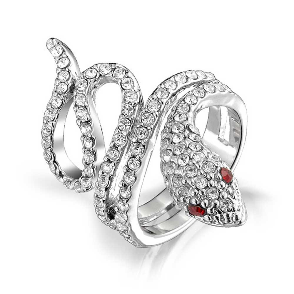 Bling Jewelry Spiral Wrap Serpent Snake Fashion Statement Ring for Women Red Eye Cubic Zirconia Pave CZ Silver Plated Brass