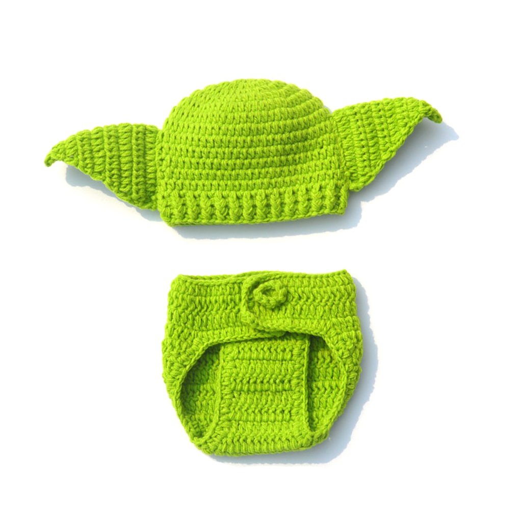 Kalttoy Handmade Knitted Baby Star Wars Yoda Costume Outfit Newborn Photography Props