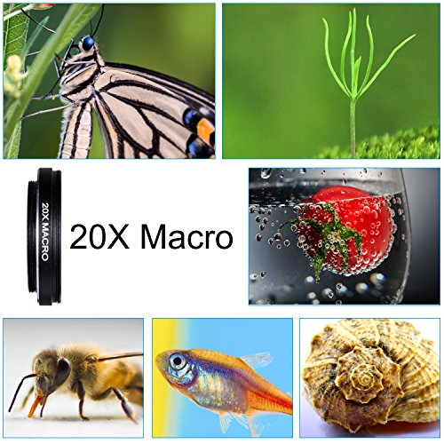 Crenova Phone Camera Lens Kit, 0.45x Wide Angle Lens, HD 128° Super Wide Angle 20X Macro Lens, Clips-On Cell Phone Lens for iPhone/Samsung/Android/Most Smartphones and Tablets by Crenova (Image #3)
