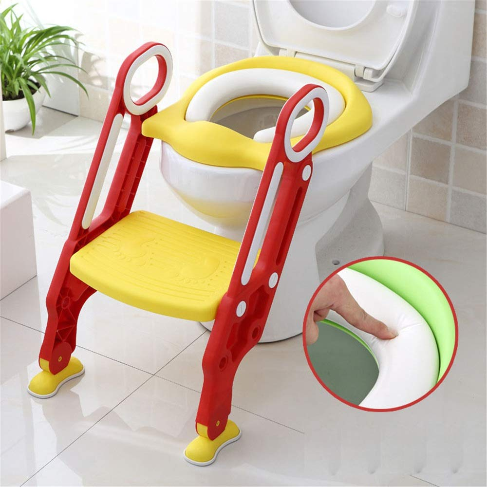 Fklee Potty Training Seat for Toddlers Toilet Seat Kids Potty Trainer Seats with Soft Cushion Handles and Sturdy Non-Slip Ladder Step Potty Ladder for Boys and Girls (Color : Red, Size : One Size)