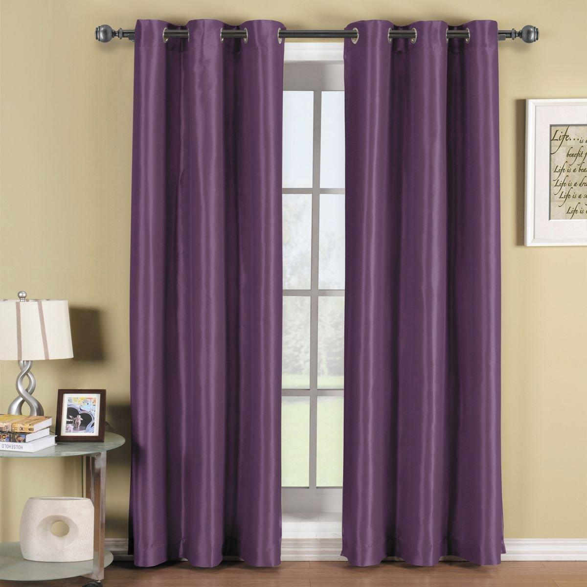 Pair of 2 Panels, Triple-Pass foam back layer, Thermal Blackout Window Curtain Set 84X63, Top Silver Grommet - 2 (42x63 Each Panel), Purple