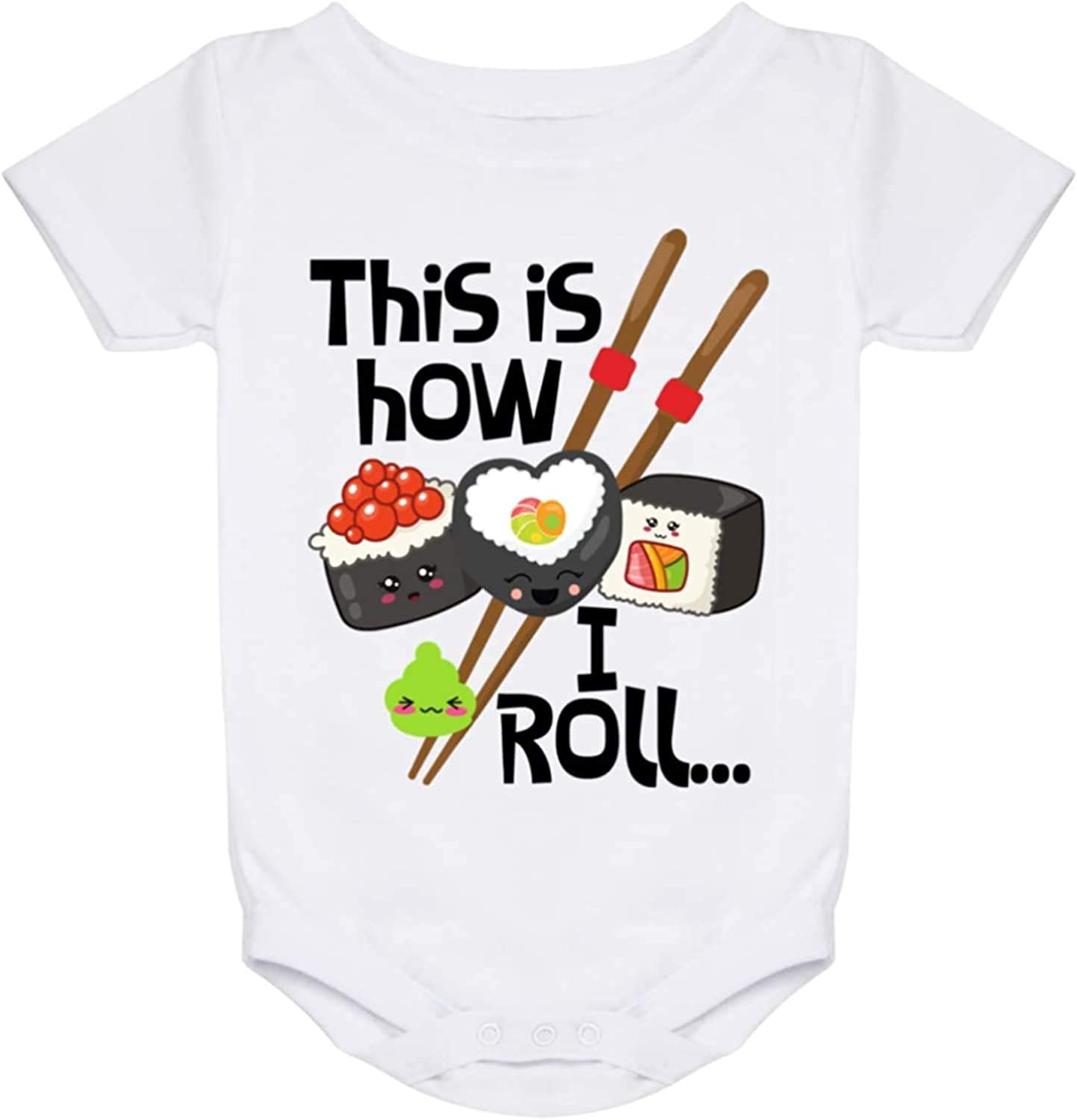 BYRON HOYLE This is How I Roll Baby Bodysuit,Sushi Lover Japanese Asian Food Baby Shirt Baby Romper