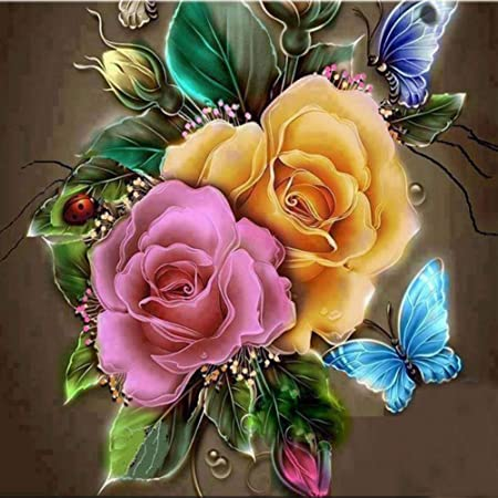 Full Round Drill home decor mosaic 30cm X 30cm 5D DIY diamond embroidery Rose and Butterfly diamond painting kit