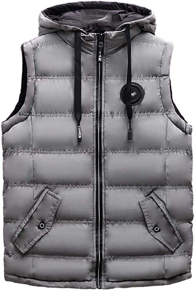 TAGGMY Jackets for Men Winter Plus Size Coat Padded Cotton Vest Warm Hooded Thick Vest Top Autumn