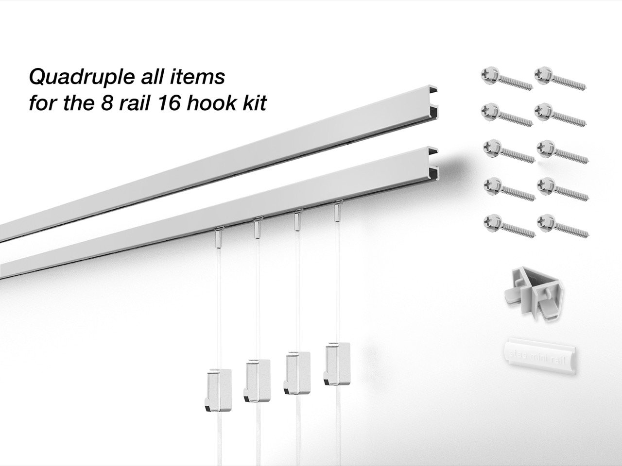 16 Hanging Components STAS Minirail Picture Hanging System- Complete Kit (16 hooks and cords 8 rails 59'', Matte Silver) by Stas Picture Hanging Systems