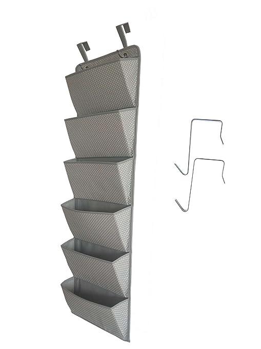 Organizador de archivadores colgantes en la puerta, portaobjetos de oficina de 6 bolsillos para montaje