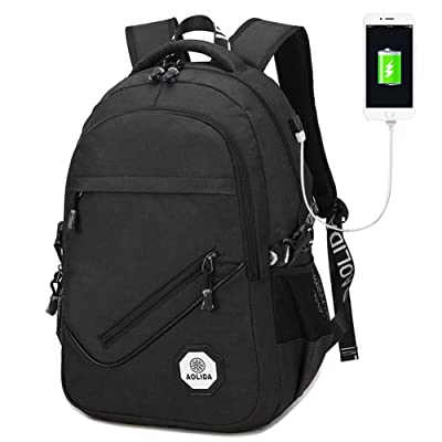 Business Laptop Backpack, Unisex Water-Resistant Lightweight Casual School Travel College Bag with USB Charging Port Fits 15 Inch Laptop (Black)