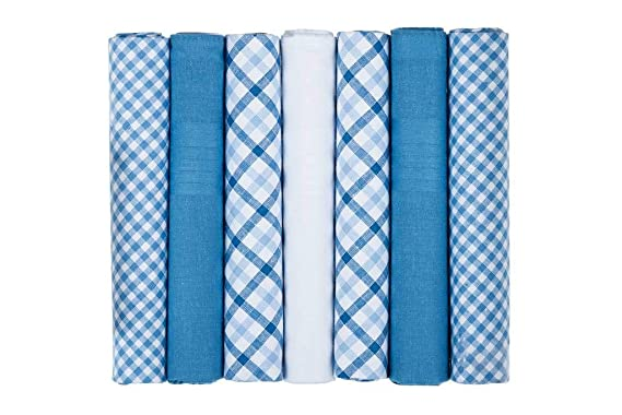 Supplied Boxed 7 Pack Mens Handkerchiefs Red Blue and White Coloured Plain Plaid Check Mixed Gents Gentlemens 100/% Soft Cotton Suit Pocket Handkerchieves Hankies For Men
