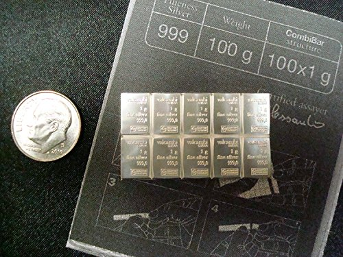 Valcambi Suisse 10 By 1Gram Pure 99 9  Silver Combibar