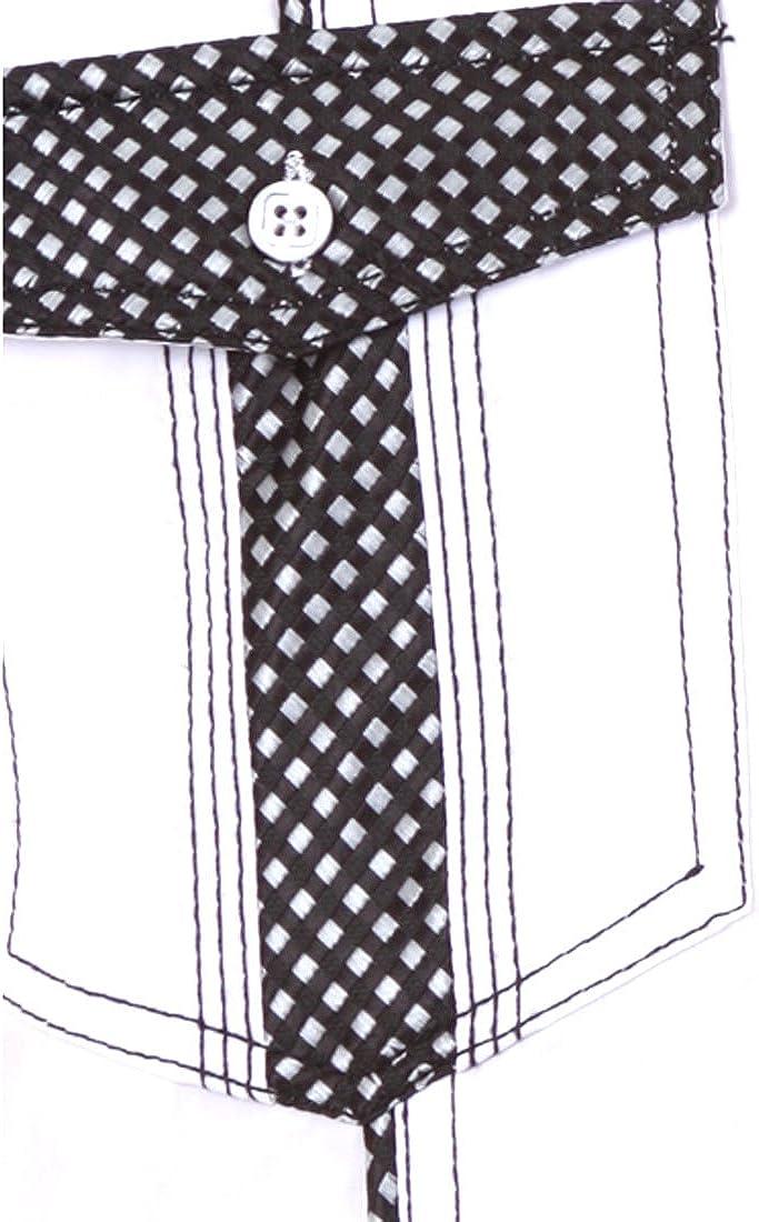 Mens White with Black Polka Dot Accents Dress Shirt