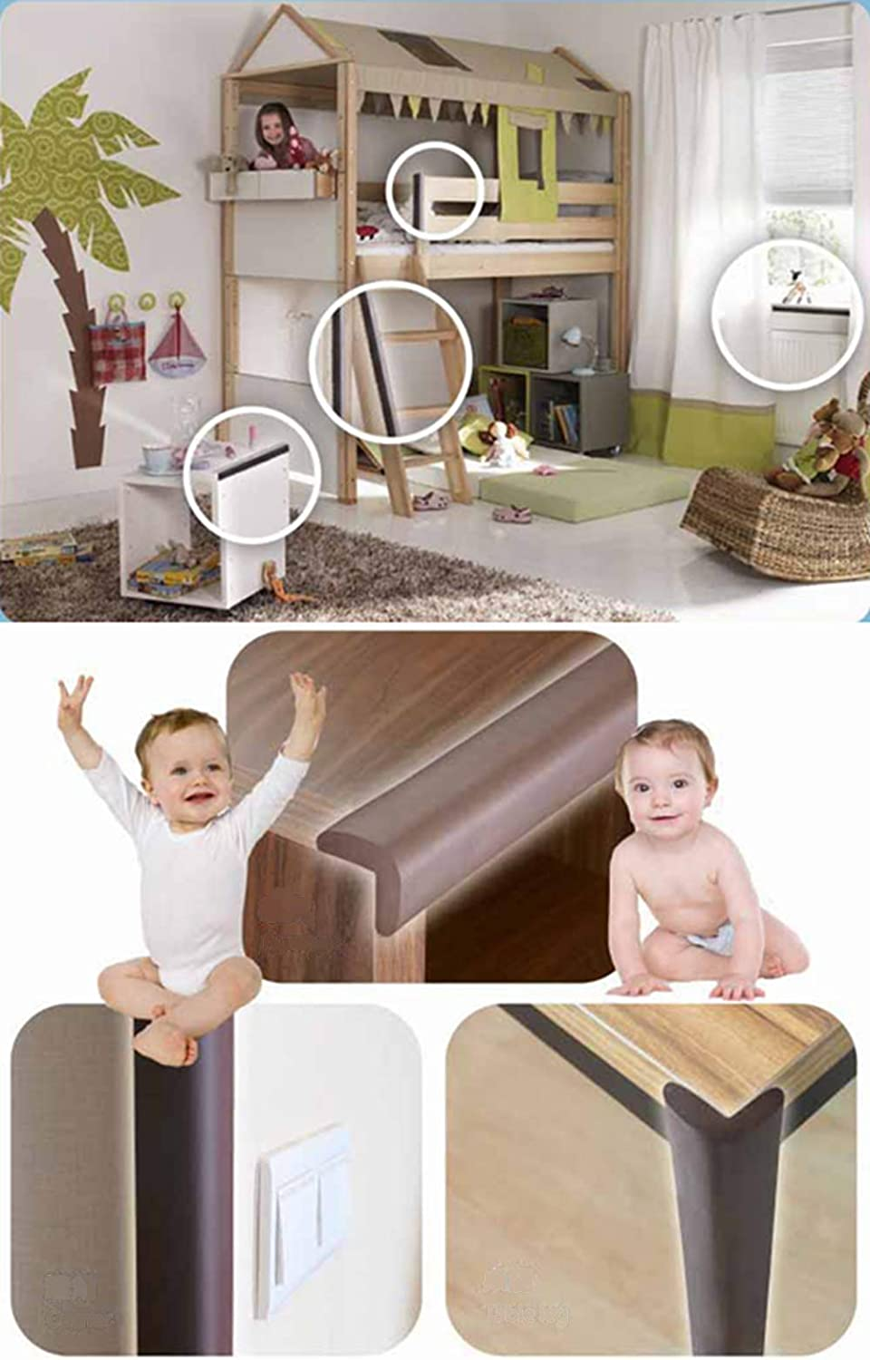 TV Bench Child Foam Corner Protectors L Shaped 6m Baby Proofing with 8 Corner Guards Baby Safety Edge Protector Door Chair Tuokay Bed Suitable for Edge of Table Furniture Black Wall