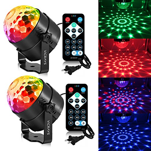 Disco Lights Sound Activated Party Lights with Remote,Dj Lighting, RBG Disco Ball, Stage lights Magic LED Strobe Lamp for Home Parties Birthday DJ Bar Karaoke Xmas Wedding (2 sets) by VICRAYS