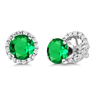 10d4c0625 Amazon.com: Gem Stone King 2.88 Ct Round Green Nano Emerald 925 Sterling  Silver Stud Earrings with Jackets: Jewelry
