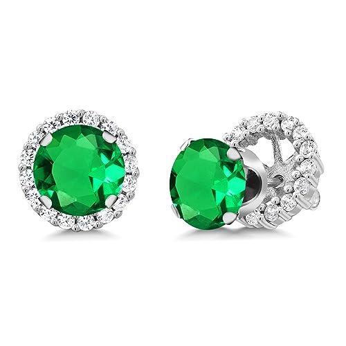 Amazon.com: 2.88 ct redonda con nano verde esmeralda 925 ...