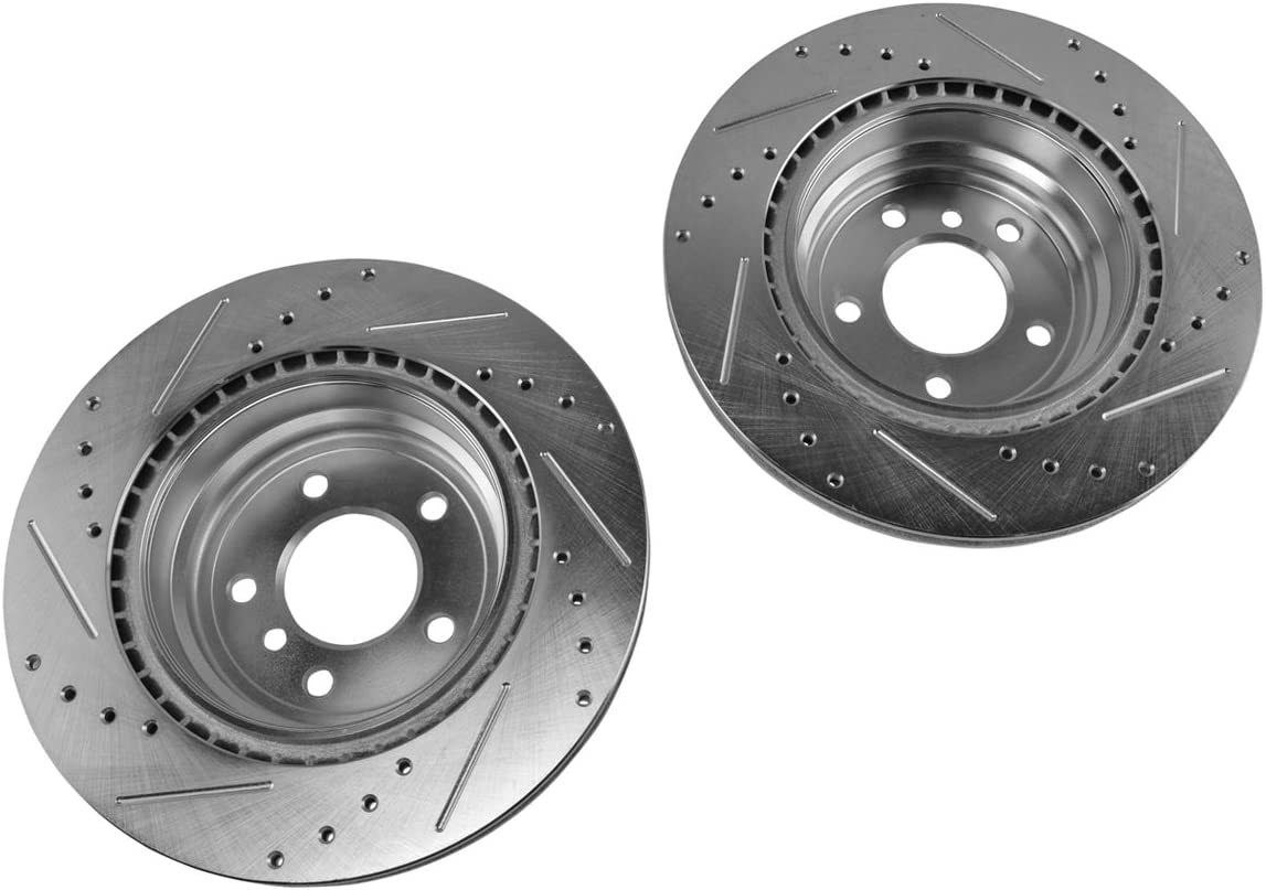 Performance Brake Rotor Drilled /& Slotted Zinc Coated Rear Pair for BMW