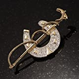Gold Tone Polo Mallet & Horse Shoe Brooch