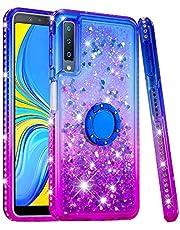 Ze Winkelen Voor Samsung Galaxy A7 2018 Vloeibare Glitter Ring Stand Case, Samsung Galaxy A7 2018, Blauw Paars