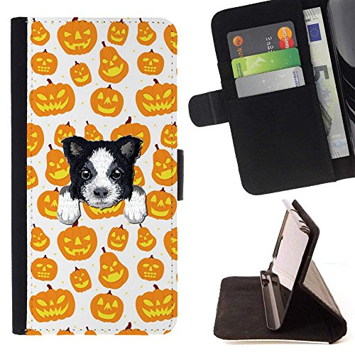 [ BORDER COLLIE ] Embroidered Cute Dog Puppy Leather Wallet Case FOR LG K4 (2017) / LG K8 (2017) / LG Aristo/LG Phoenix 3 / LG Risio 2 / LG Fortune [ Orange Halloween Pumpkin Pattern ] ()