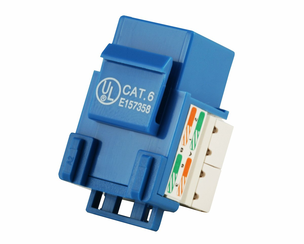 Monoprice Cat6 Punch Down Keystone Jack Blue To Rj45 Wiring Diagram Also Cat 6 Connector Along With 5 Computers Accessories