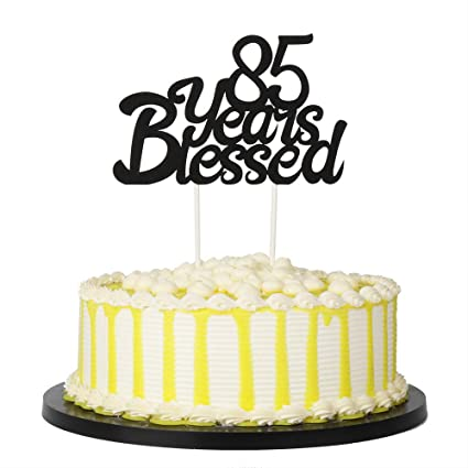 Amazon PALASASA Black Single Sided Glitter 85 Years Blessed