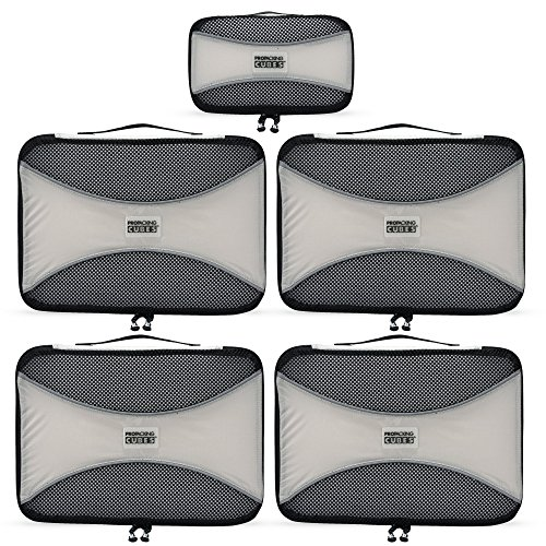Pro Packing Cubes 5 Piece Lightweight Travel Cube Set of Compression Organizers