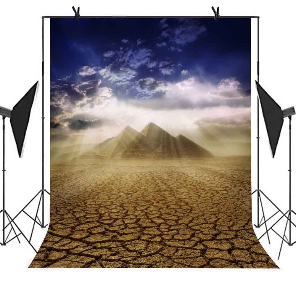 MEETS 5x7ft Egyptian Pyramids Backdrop Pyramid Blue Sky White Clouds Sunlight Dried Up Land Background Photo Booth Studio Props Theme Party Curtain Business Use Background MT394 by MEET's story