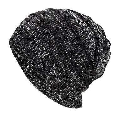 1a3dcb9c43 Unisex Knit Hat, Women Men Autumn Winter Crochet Hat Knit Beanie Warm  Breathable Fold Caps Berets (Black): Amazon.co.uk: Clothing