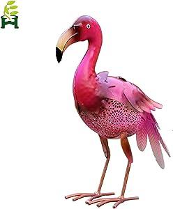 Solar Light Metal Pink Flamingos Seven Color Changing Lights, Decor Solar Lights, Outdoor Garden Lights,Patio, Path, Lawn, Garden, Yard Decor
