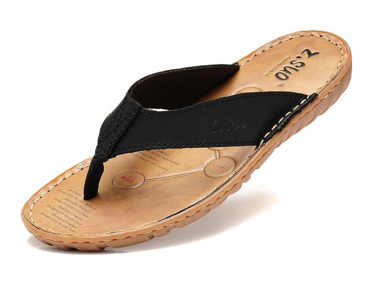 DQQ Mens Black Leather Stitch Thong Sandal 8 US