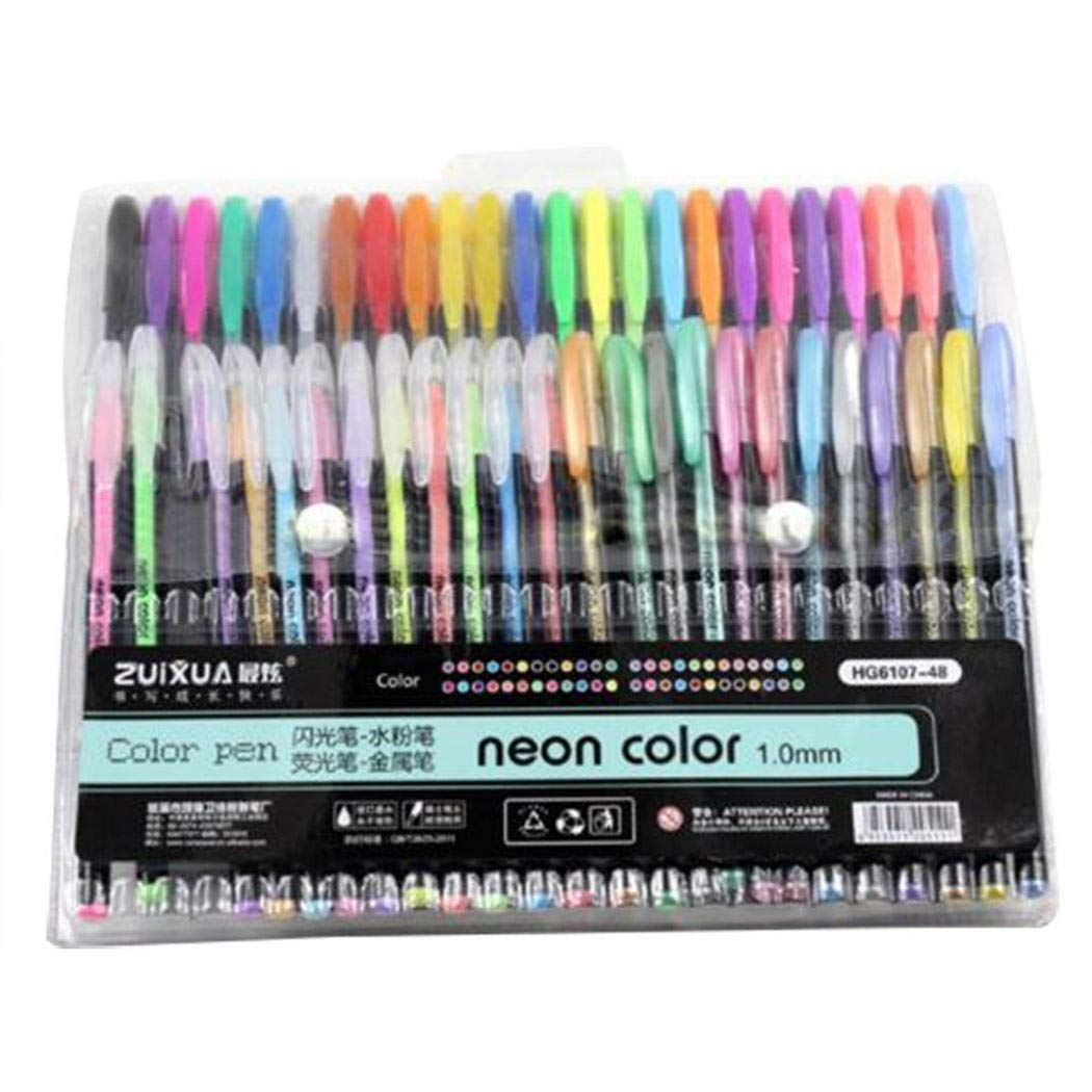 MelysUS 48pcs Gel Pen Set Refills Metallic Pastel Neon Glitter Sketch Painting Drawing Color Pen School Stationery Marker for Kids Gifts by melysUS (Image #2)