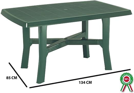 SF Savino Filippo - Mesa rectangular de resina de plástico verde para exterior, jardín, terraza, bar, sagra, camping, con orificio para sombrilla: Amazon.es: Jardín