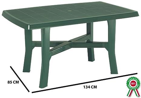Tavoli Di Plastica Giardino.Sf Savino Filippo Tavolo Tavolino Rettangolare In Resina Di Plastica Verde Per Esterno Da Giardino Terrazzo Bar Sagra Campeggio Con Foro Per
