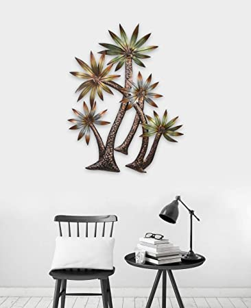 WALL SCULPTURES TROPICAL DECOR SWAYING PALM TREES METAL WALL SCULPTURE