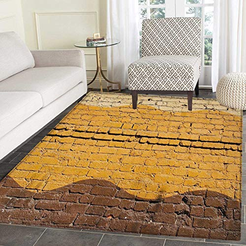 Tan and Brown Area Rug Carpet Urban Architecture Weathered Old Brick Wall Different Colored Waves Living Dining Room Bedroom Hallway Office Carpet 4'x5' Yellow Beige Brown ()