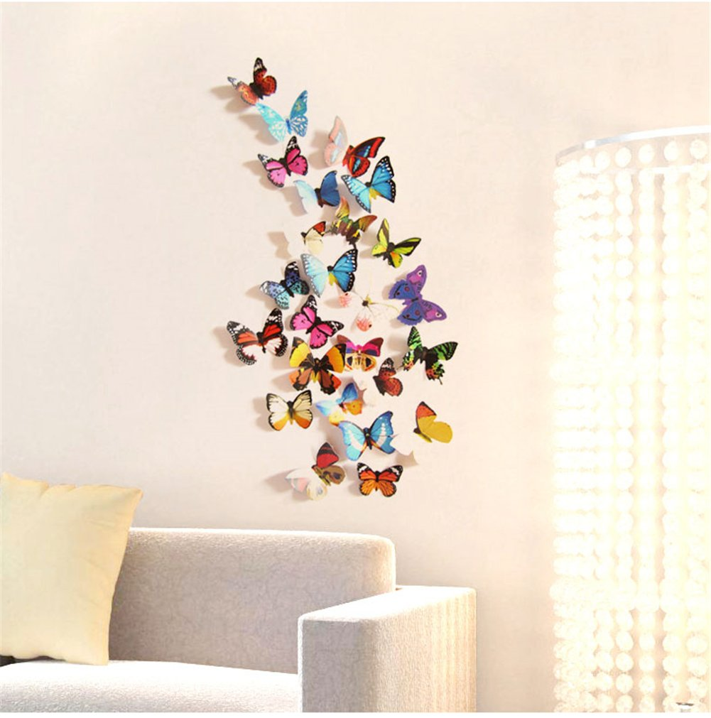 amazon com prefer green 48 pcs 3d colorful butterfly wall amazon com prefer green 48 pcs 3d colorful butterfly wall stickers diy art decor crafts h 017 a home kitchen