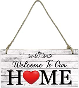 Welcome Wood Plaque Sign Welcome Our Home Red Heart Farmhouse Door Hanging Wooden Sign Board Retro Wooden Plank Decorative Wooden Door Hangers with Ropes for Porch Wall 8 x 4 inch
