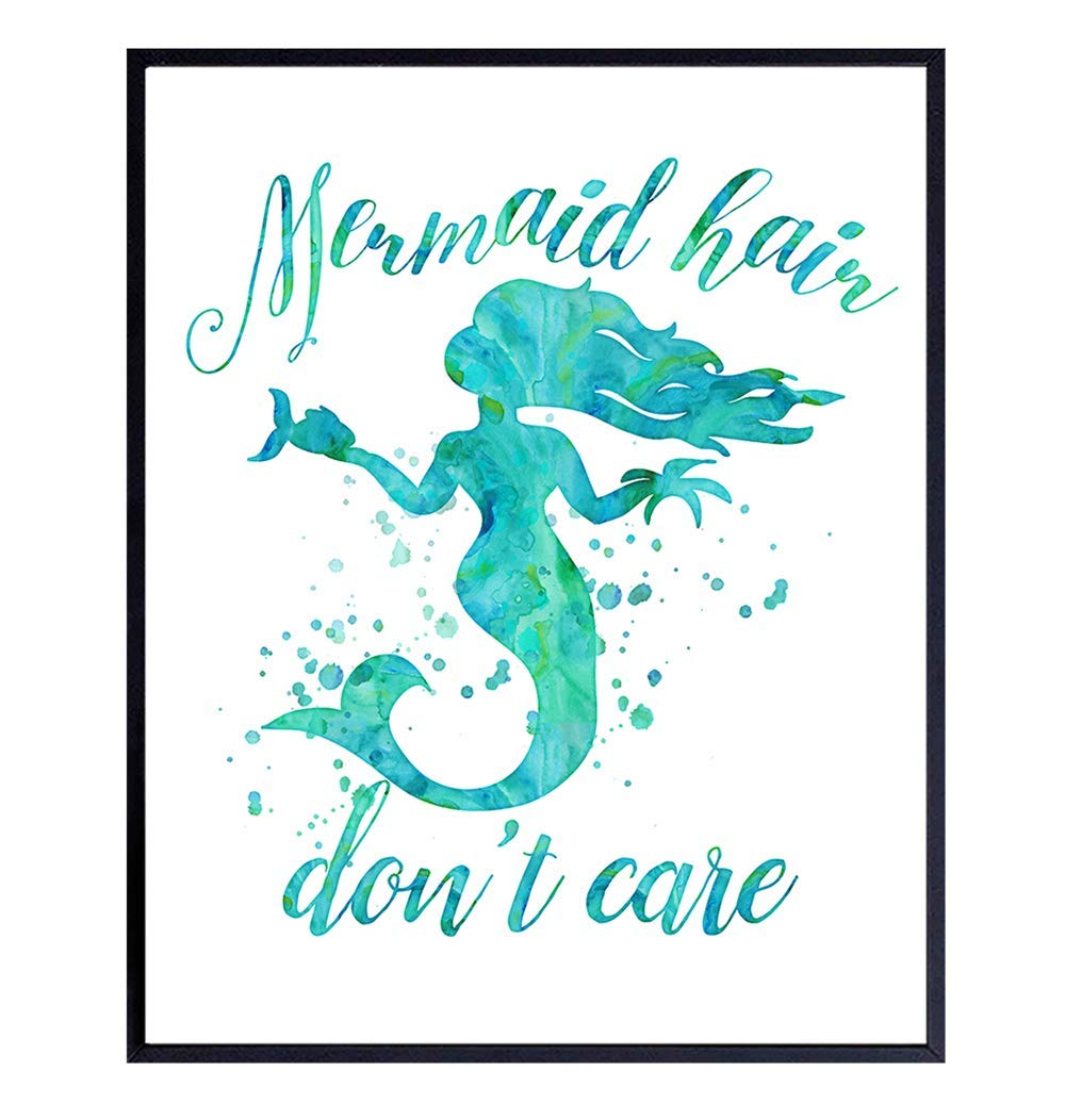 Mermaid Decorations, Nautical Decor, Funny Wall Art, Poster, Print - Unique Room and Home Art for Kids, Teens, Girls Room, Bathroom Decor, Bath Decor - Makes a Great Gift - 8x10 Photo Unframed