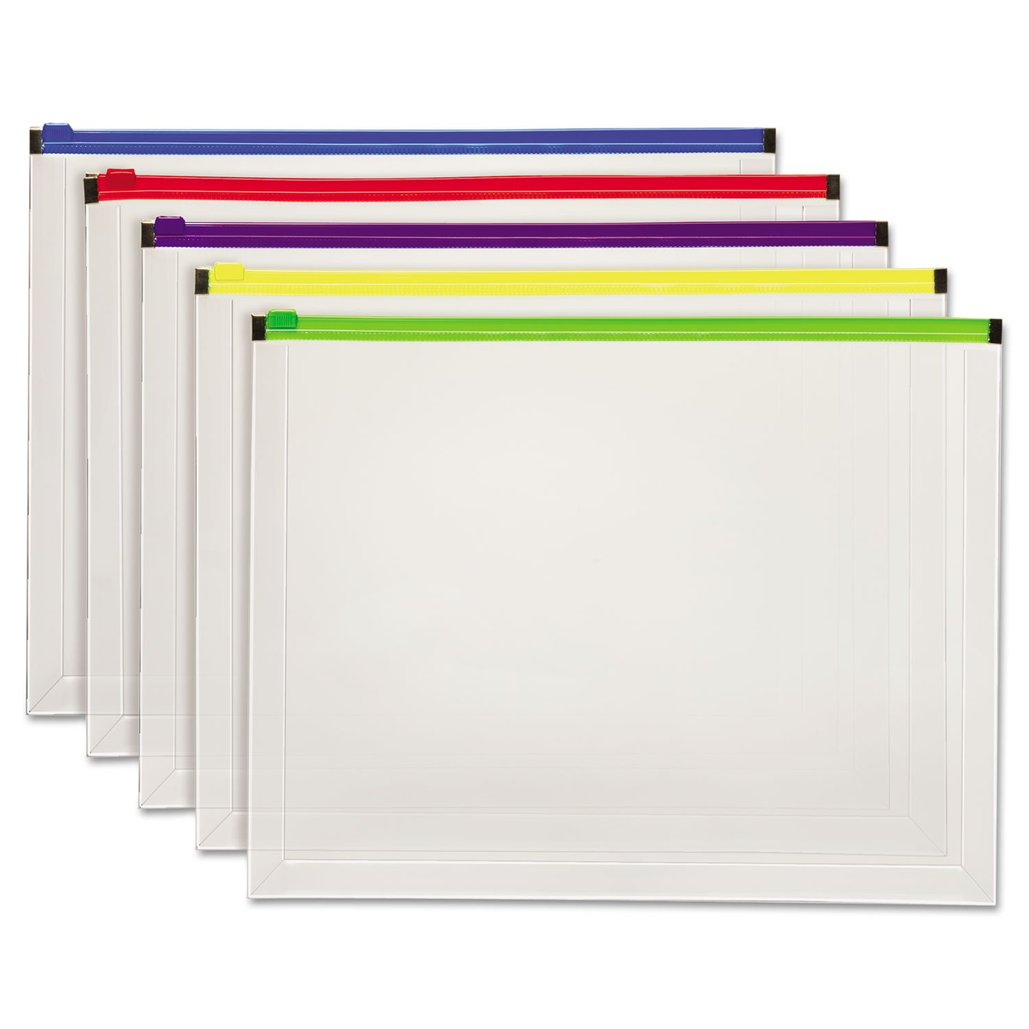 Globe-Weis 85292 Poly Zip Envelope, 10 x 13, Open Side, Assorted, 5/Pack TOPS Products