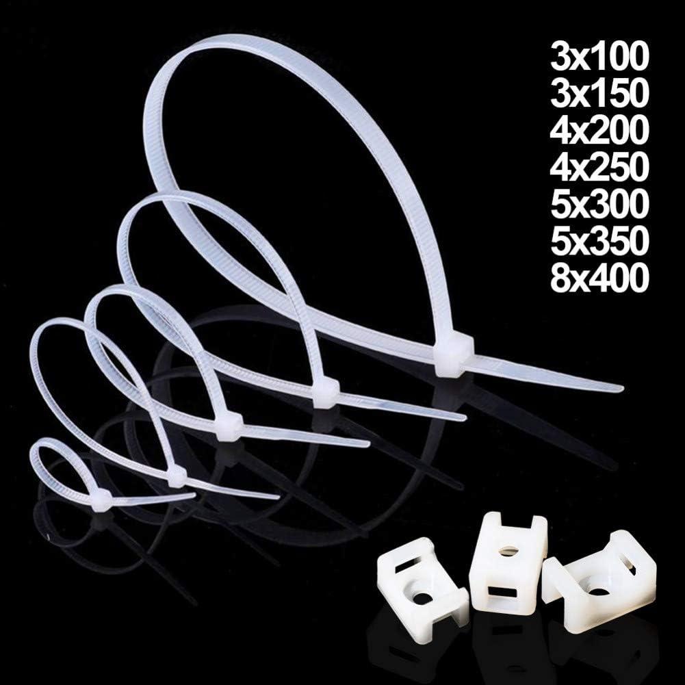 Blanc 150 Mm Attache /À Fermeture /Éclair En Plastique Nylon Autobloquant Manchon De C/âble Attaches Pour Courroies De Reliure En Fil ZADAI Attache De C/âble 100 Pi/èces En Couleur 3