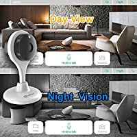 Misafes 720p HD Day Night Vision Mini Smart Wireless Wifi Indoor Home Security Surveillance Nanny Camera Two-Way Audio Motion Alerts Remote View Cam Easy Connection 304R White