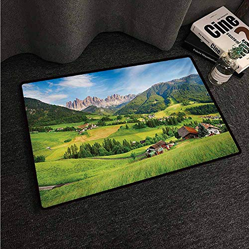 HCCJLCKS Door mat Nature Alps in The Spring Season with Fresh Grass Sky Majestic Mountains Image Artistic Super Absorbent mud W35 xL47 Green Blue